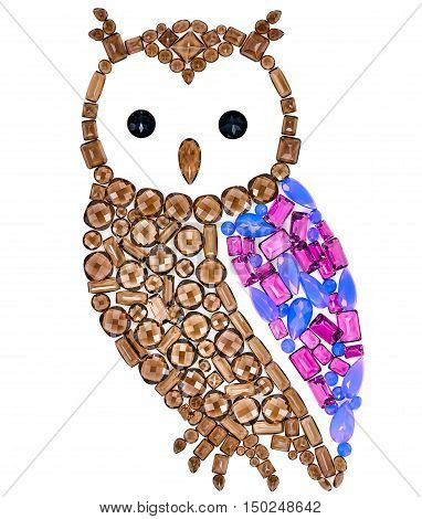 Owl Fashion Design. Feng Shui Owl Symbol Wisdom Wealth. Fashion Luxury Glamor Stylish colorful Owl. Creative Art Jewelry Decoration. Shiny Mosaic Precious placer. Rich Finance Knowledge Concept