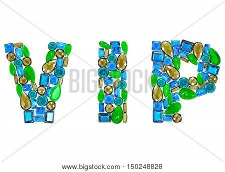 Fashion Design Gemstone. Word VIP. Fashion luxury glamor colorful placer. Shiny Mosaic Precious stones. Creative Party decoration. Celebration Holiday Art background. Success Lucky Concept