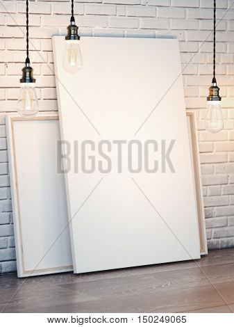 White Canvases With Bulbs On Brick Wall. 3D Rendering