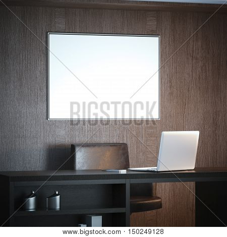 Classical interior with workplace and white big canvas on a wood wall. 3d rendering