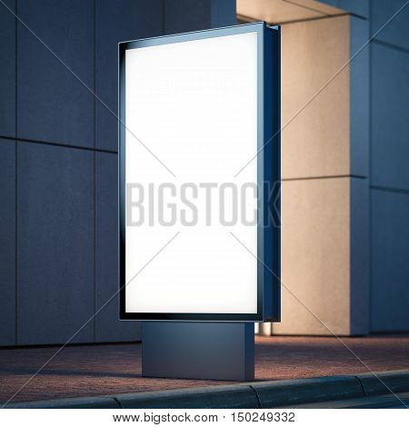 Blank metal advertising stand near concrete building. 3d rendering