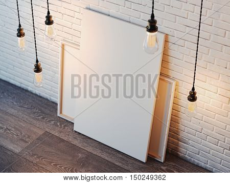 Blank white canvas with glowing bulbs in the modern loft interior with brick wall. 3d rendering