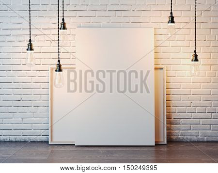 Two blank white canvases with glowing bulbs in the modern loft interior with brick wall. 3d rendering