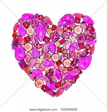 Valentines Day, Love. Fashion Design Gemstone. Fashion luxury glamor colorful placer. Love Concept. Shiny Mosaic Precious stones. Creative Party decoration. Celebration Holiday Art background.