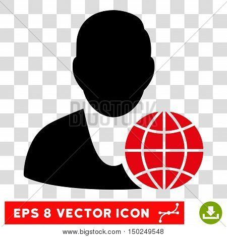 Vector Global Manager EPS vector pictograph. Illustration style is flat iconic bicolor intensive red and black symbol on a transparent background.