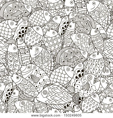 Fantasy sea and ocean seamless pattern. Black and white fish background in line art style. Great for coloring book, wrapping, printing, fabric and textile. Vector illustration