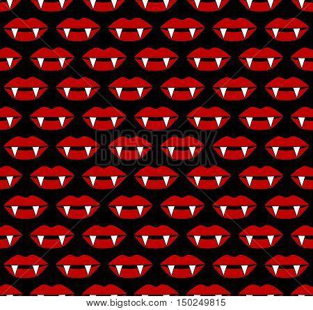 Hot red vampire lips halloween seamless vector pattern