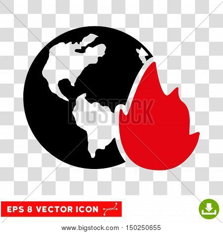 Vector Planet Flame EPS vector pictograph. Illustration style is flat iconic bicolor intensive red and black symbol on a transparent background.