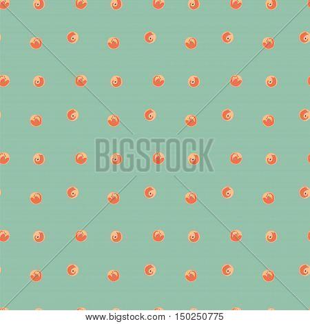 Peaches seamless vector pattern. Green peach vector background