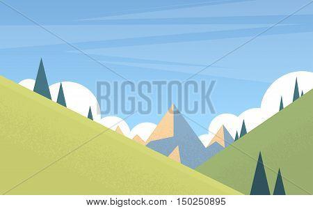 Summer Landscape Mountain Forest Sky Woods Flat Vector Illustration