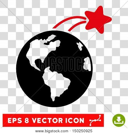 Vector Rising Satellite on Earth EPS vector pictograph. Illustration style is flat iconic bicolor intensive red and black symbol on a transparent background.