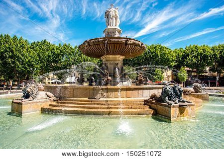 The Fontain de la Rotonde with three sculptures of female figures presenting Justice in Aix-en-Provence in France