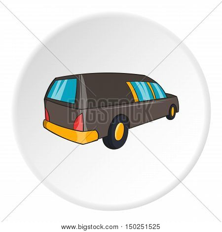 Hearse icon in cartoon style isolated on white circle background. Transport symbol vector illustration