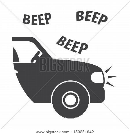 car beep black simple icon on white background for web design poster