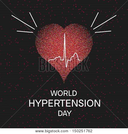 World Hypertension Day. Vector illustration of heart and cardiogram on black background. Hypertension awareness sign. Pulse symbol. Heartbeat label. Medical concept.