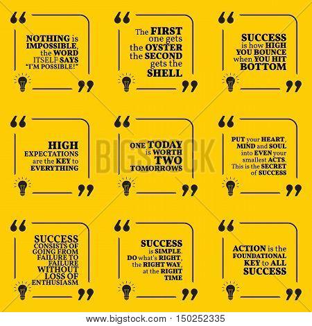 Set Of Motivational Quotes About Action, Goals, Achievement, Success And Enthusiasm. Simple Note Des
