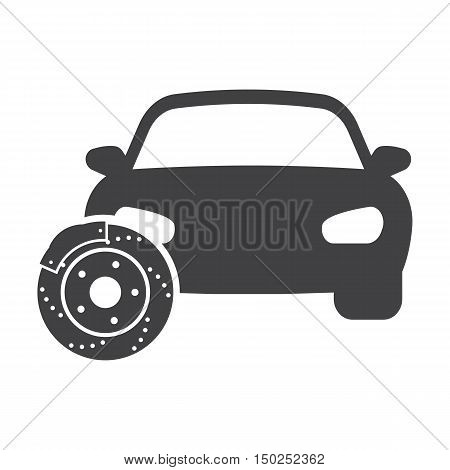 car brake discs black simple icon on white background for web design