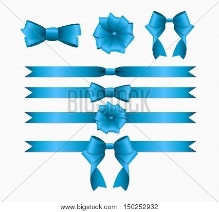 Blue Ribbon and Bow Set for Birthday and Christmas Gift Box. Realistic Silk Ribbon Decoration. Vector Illustration EPS10