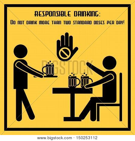 Responsible drinking - conceptual social poster about norms of alcohol use. Propaganda placard in flat design. Vector illustration