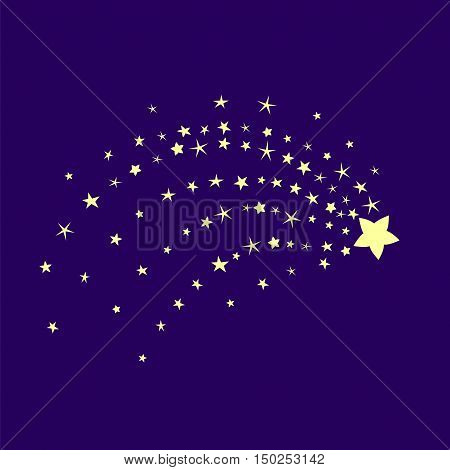 Comet in the blue sky. Stardust night illustration. Star of Bethlehem. Starry background.