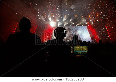Sound manager on live rock concert, disco show