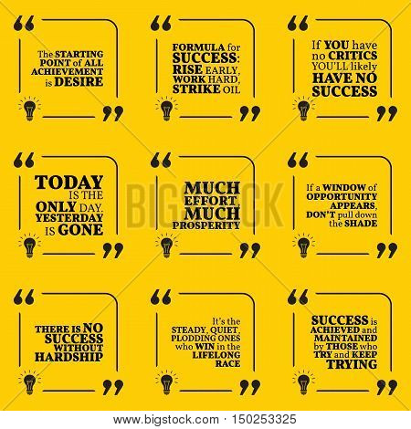 Set Of Motivational Quotes About Action, Hard Work, Goals, Achievement, Success, Winners And Opportu