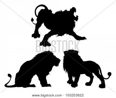 Silhouettes of lions in three different isolated poses. This graphic is ideal for logos, or other types of graphics.