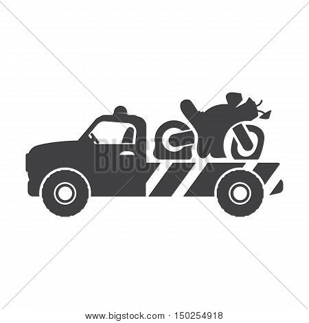 tow truck black simple icons set for web design