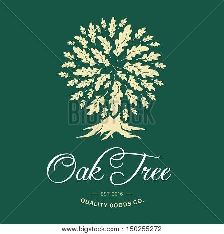 Oak tree handmade shabby logo design concept on green background. Web graphics modern vector sign.  Vintage quality organic goods co. illustration.