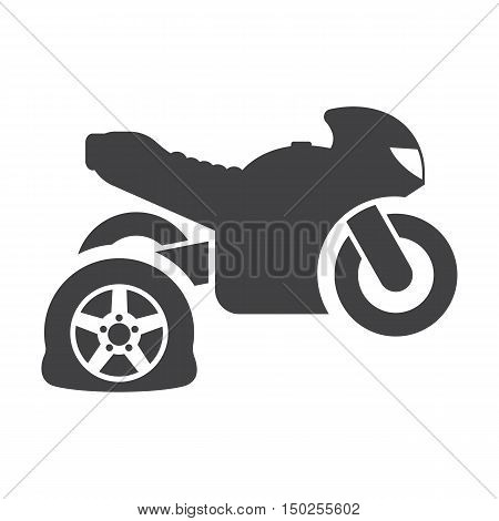 Motorcycle punctured tire black simple icons set for web design
