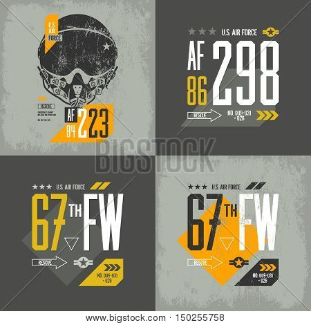 Modern american air force old grunge effect tee print vector design set.  Premium quality superior threadbare pilot helmet and number logo concept. Shabby t-shirt aircraft emblem illustration.