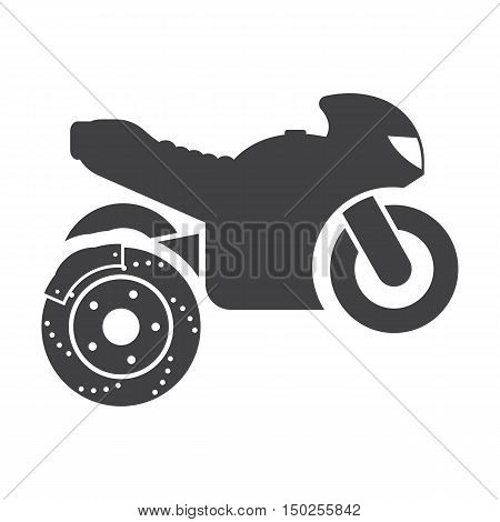 Motorcycle brake disc black simple icons set for web design