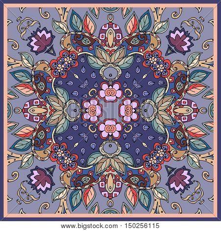 Decorative floral ornament. Bandana print, silk neck scarf or kerchief design. Lovely tablecloth Vector illustration.