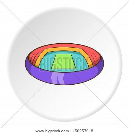 Round stadium icon in cartoon style isolated on white circle background. Sports facility symbol vector illustration