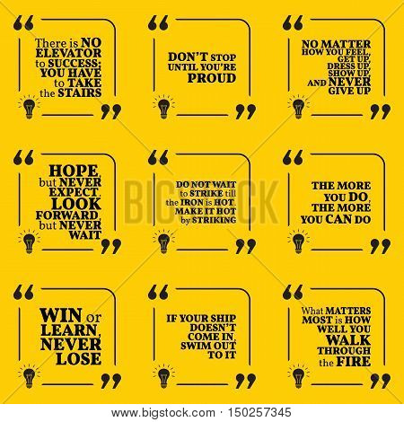 Set Of Motivational Quotes About Hope, Action, Hard Work, Achievement, Success, Winners And Never Gi