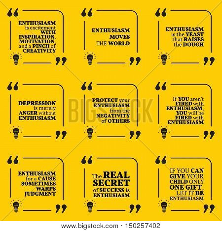 Set Of Motivational Quotes About Enthusiasm, Positive Thinking, Optimism, Depression, Happiness And