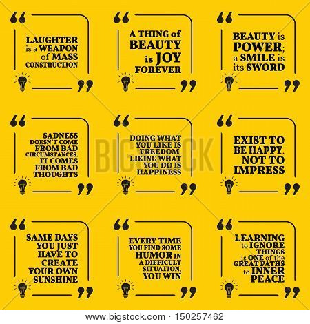 Set Of Motivational Quotes About Optimism, Beauty, Sadness, Happiness, Joy, Laugh, Freedom, Humor, P