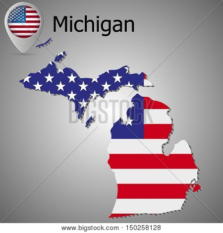Michigan map flag and text. Map pointer with American flag. vector illustration.