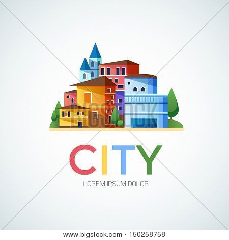 Abstract city, urban logo design template, building composition icon