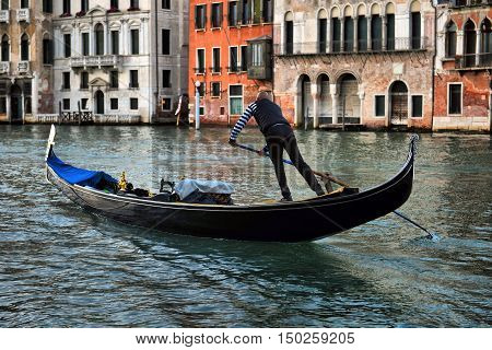 2016 APRIL 18 Italy Venezia Gondolas on canal in Venice 2016 APRIL 18 Italy Venezia