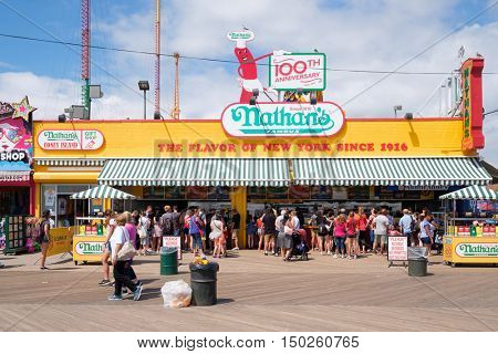 NEW YORK,USA - AUGUST 18,2016 : The original Nathan's hot dogs and fast food stand at Coney Island in New York City