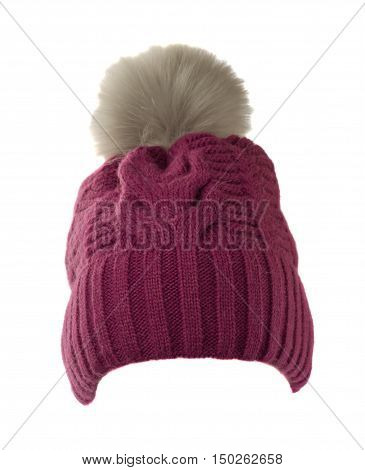 Women's Knitted Hat With Pompom Isolated On White Background