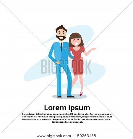 Couple Business Man And Woman Embrace Happy Smiling Flat Vector Illustration