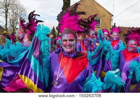 OLDENZAAL NETHERLANDS - FEBRUARY 7 2016: Unknown person in funny carnival dress during the annual carnival parade