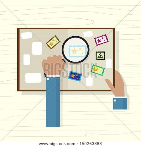 Business People Hand Holds Magnifying Glass Looking at Postage Stamp Collection. Flat Vector Illustration