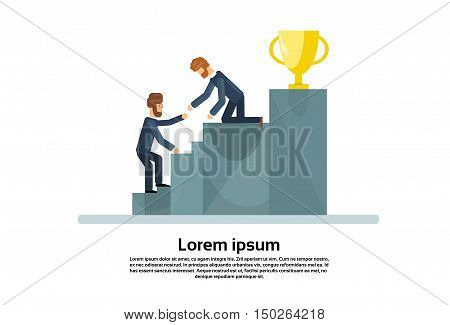 Two Business Men Climb Stairs Podium Golden Cup Successful Team Teamwork Concept Flat Vector Illustration