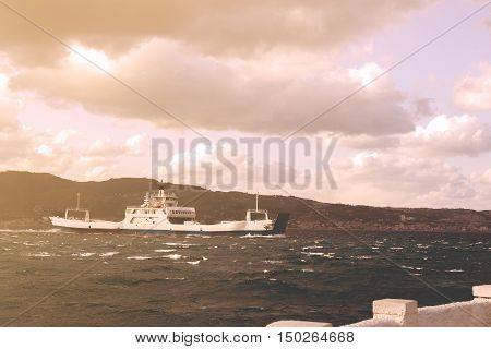 Ferry Boat Crossing Messina Strait