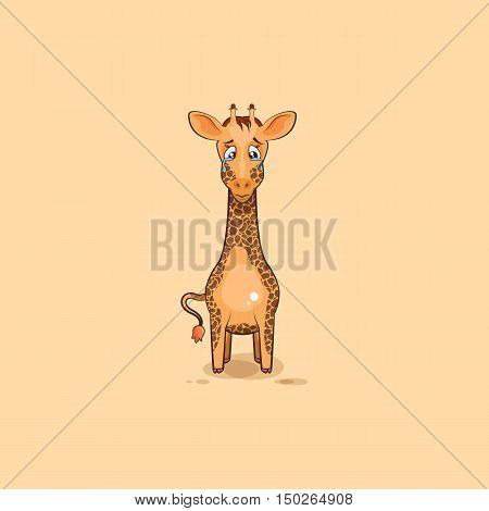 Vector Stock Illustration isolated Emoji character cartoon sad and frustrated Giraffe crying