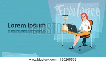 Business Woman Freelancer Working Laptop Computer Sand Watch Time Management Concept Flat Vector Illustration