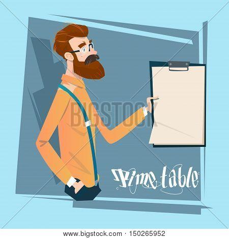 Business Man Hold Timetable Time Management Concept Flat Vector Illustration